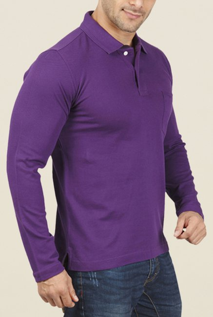 ColorPlus Purple Solid Polo T Shirt