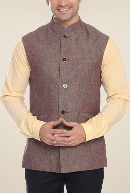 Park Avenue Brown Solid Waistcoat