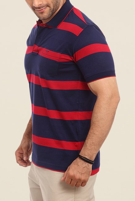 ColorPlus Navy & Red Striped Polo T Shirt