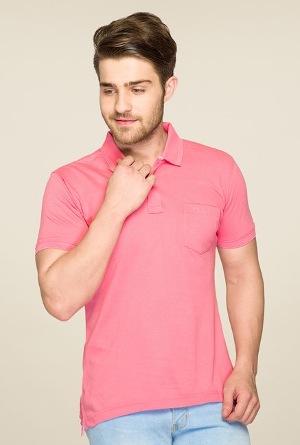 ColorPlus Pink Solid Polo T Shirt
