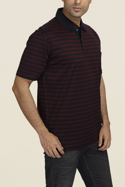 ColorPlus Black & Maroon Striped Polo T Shirt