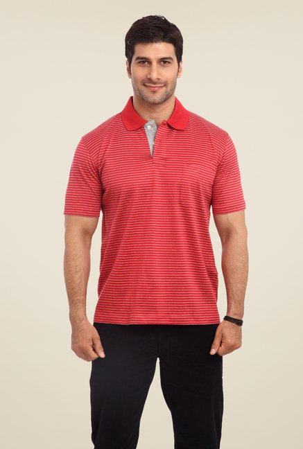 ColorPlus Red Striped Polo T Shirt