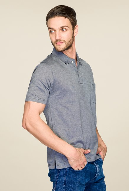 ColorPlus Grey Solid Polo T Shirt