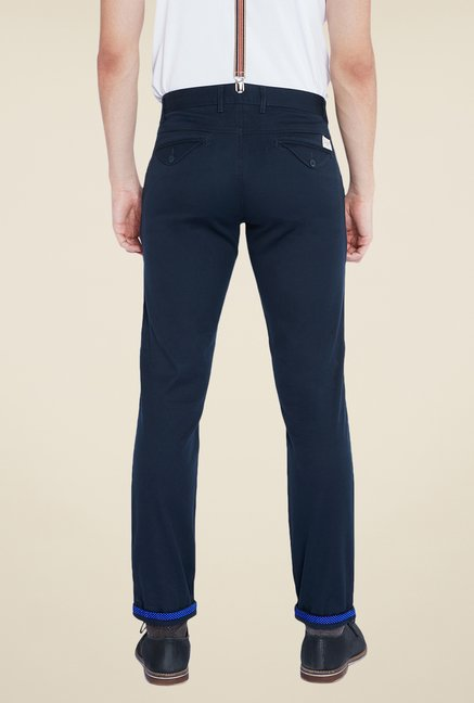 Parx Dark Blue Solid Chinos