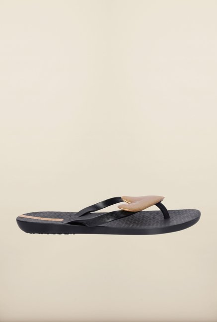 Ipanema Black & Golden Flip Flops