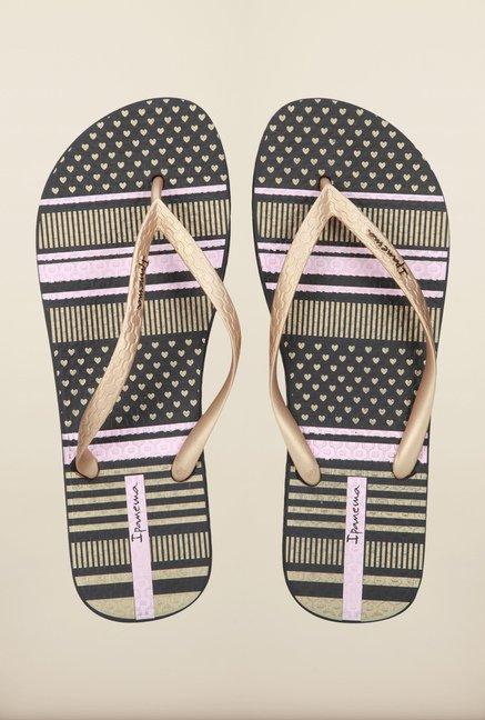 Ipanema Gold & Black Flip Flops