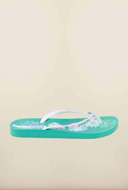 Ipanema White & Green Flip Flops