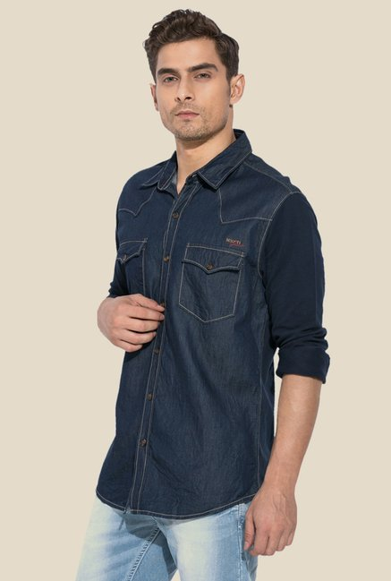 Mufti Blue Solid Full Sleeve Shirt