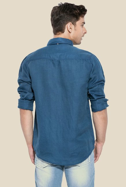 Mufti Blue Button Down Collar Shirt