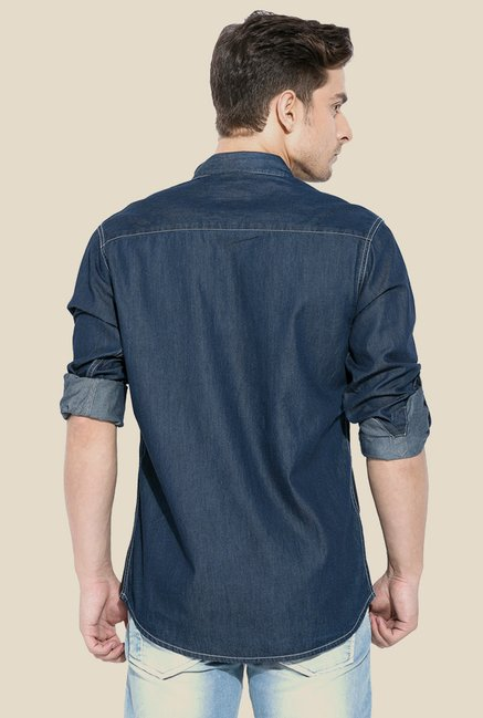 Mufti Blue & Black Solid Shirt