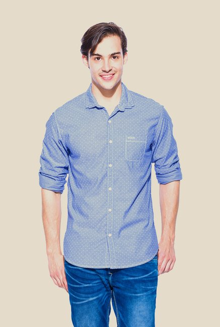Mufti Blue Polka Dot Shirt