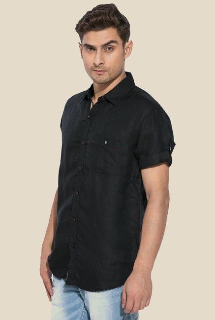 Mufti Black Half Sleeves Shirt