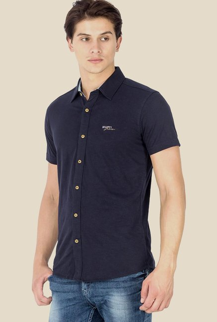 Mufti Navy Solid Shirt