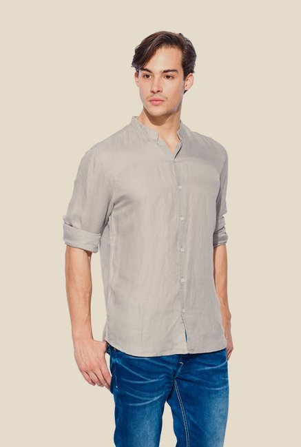 Mufti Grey Solid Shirt