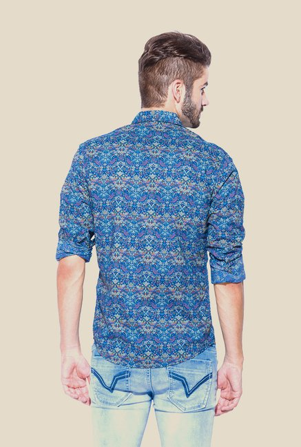 Mufti Blue Printed Full Sleeve Shirt