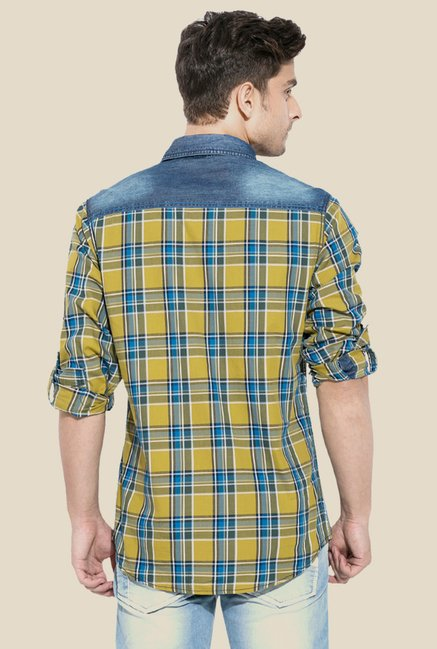 Mufti Mustard & Blue Checked Shirt