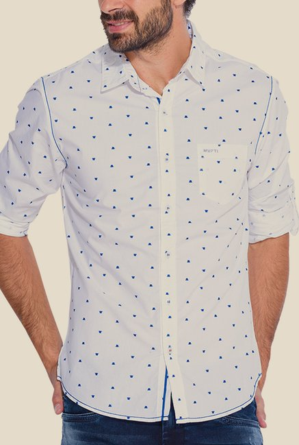 Mufti White & Blue Printed Shirt