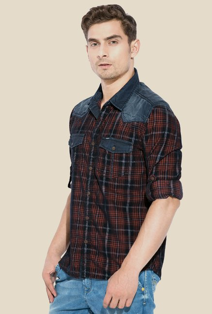 Mufti Brown Checked Shirt