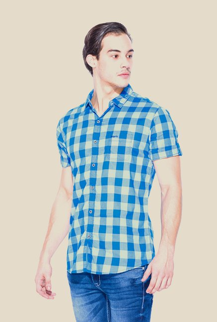 Mufti Blue Checked Half Sleeve Shirt