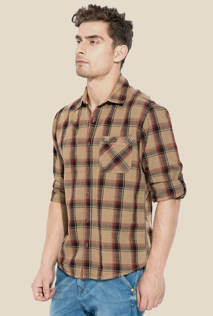 Mufti Brown Checked Short Sleeve Shirt