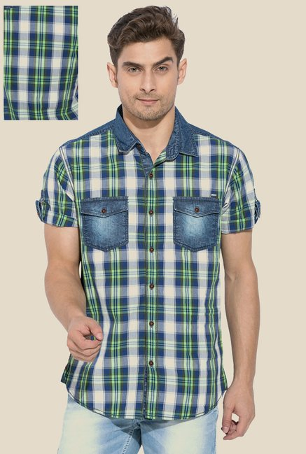 Mufti Green & Blue Checked Shirt