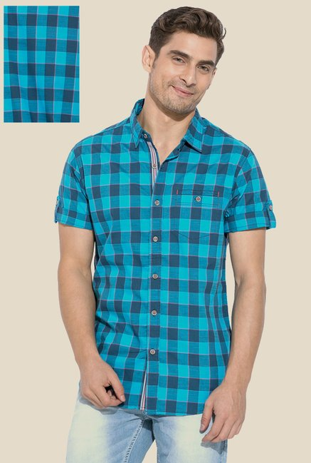 Mufti Turquoise Checked Short Sleeve Shirt