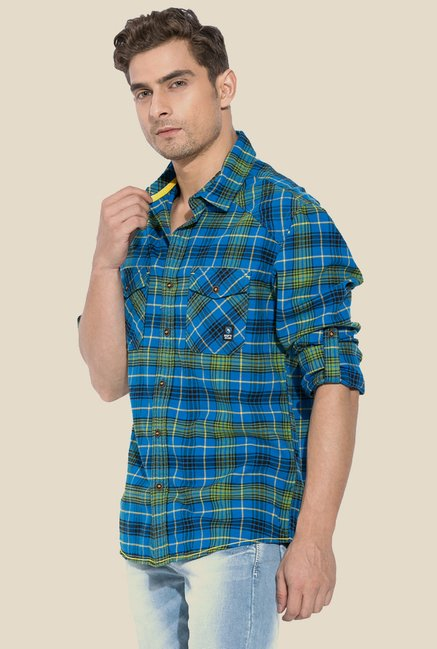 Mufti Royal Blue & Green Plaid Shirt