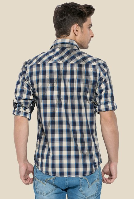 Mufti Blue & White Checked Shirt