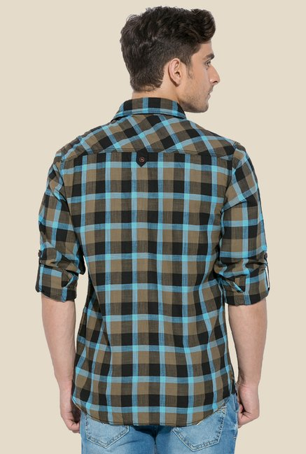 Mufti Sky Blue & Brown Checked Shirt