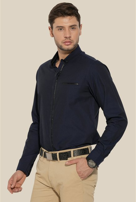 Mufti Navy Blue Solid Shirt