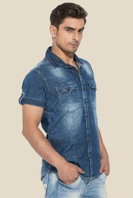 Mufti Blue Solid Half Sleeves Shirt