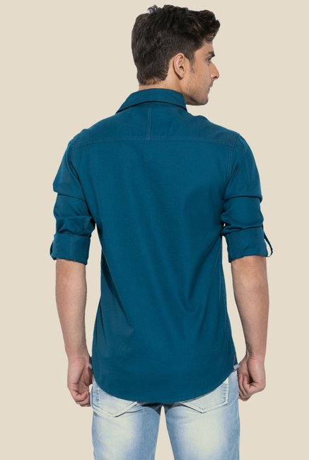 Mufti Teal Solid Shirt