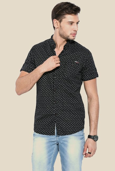 Mufti Black Printed Half Sleeves Shirt