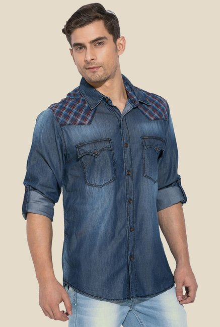 Mufti Blue Solid Full Sleeves Shirt