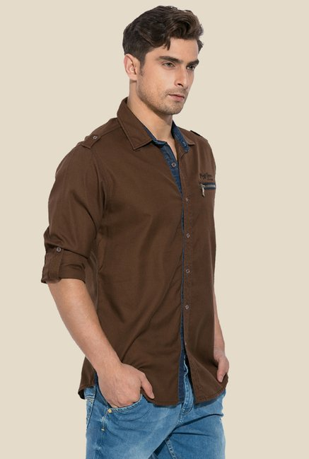 Mufti Brown Solid Cotton Shirt