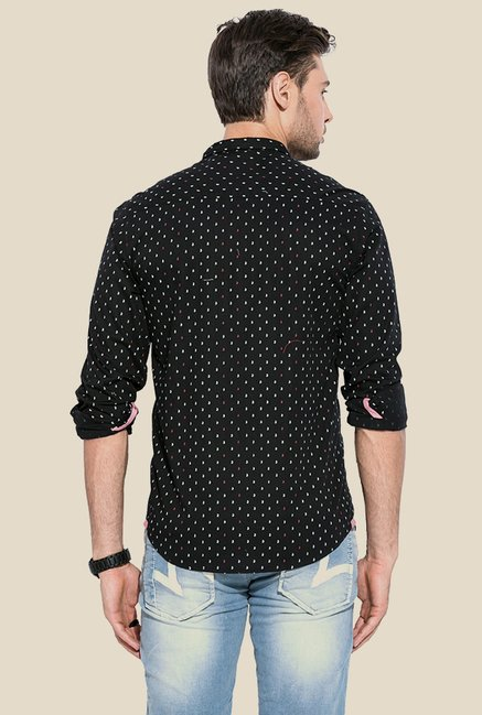 Mufti Black Printed Slim Fit Shirt