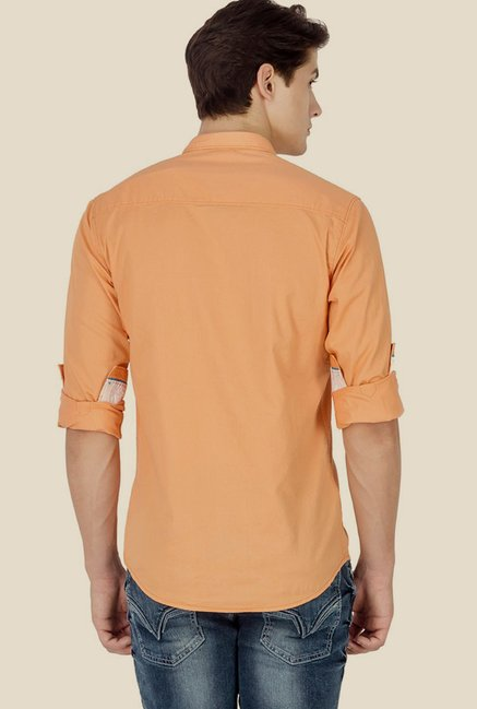 Mufti Orange Solid Shirt