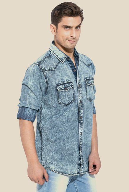 Mufti Blue Denim Solid Shirt