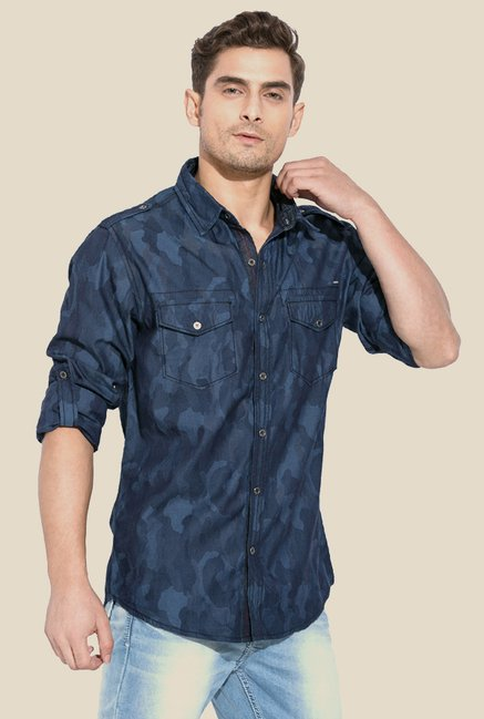 Mufti Blue Printed Camo Shirt