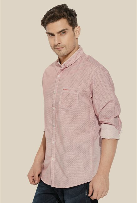 Mufti Pink Printed Slim Fit Shirt