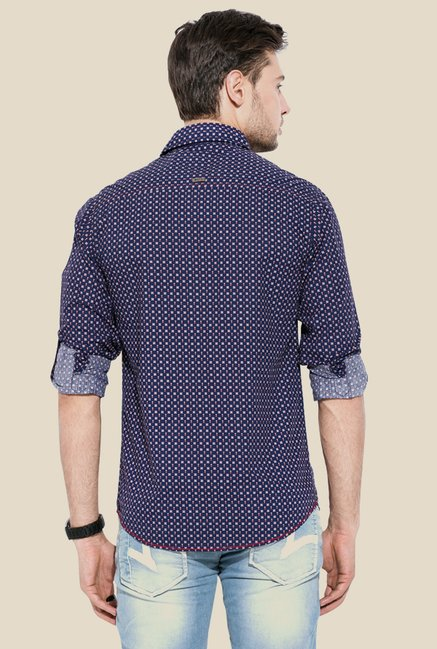 Mufti Navy Printed Slim Fit Shirt