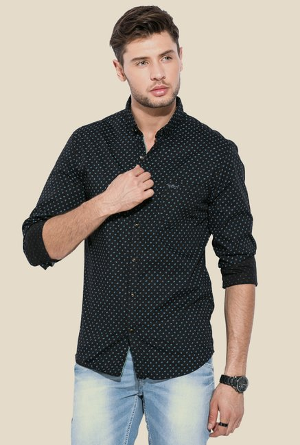 Mufti Black Printed Full Sleeves Shirt