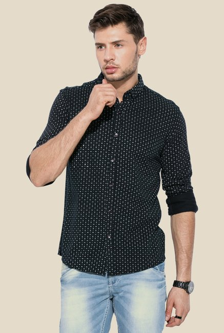 Mufti Navy Printed Button Down Collar Cotton Shirt