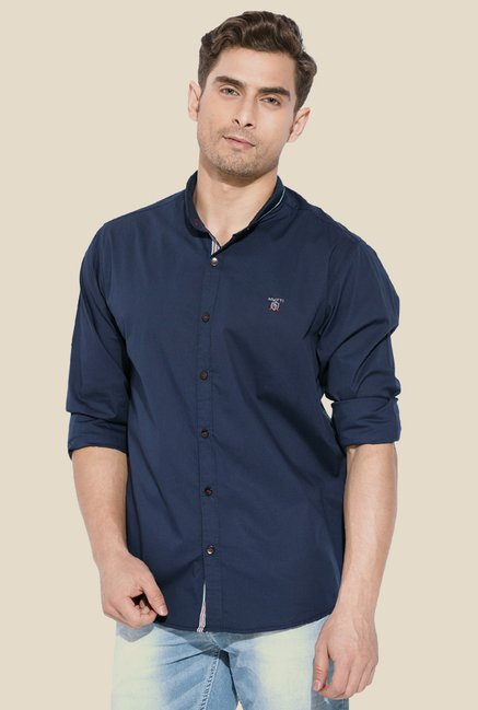 Mufti Navy Solid Button Down Collar Shirt