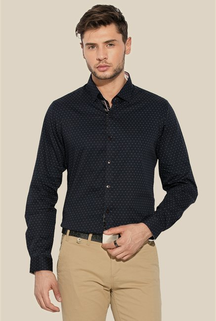 Mufti Navy Printed Slim Fit Cotton Shirt