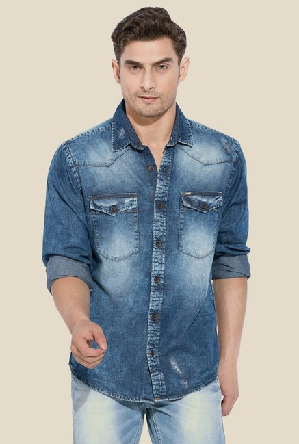 Mufti Blue Solid Denim Shirt