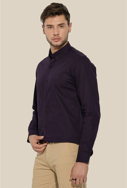 Mufti Purple Solid Shirt