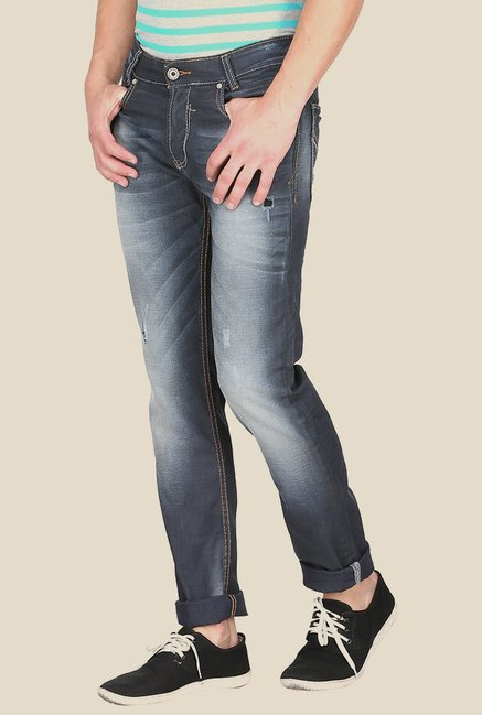 Mufti Grey Distressed Straight Fit Jeans