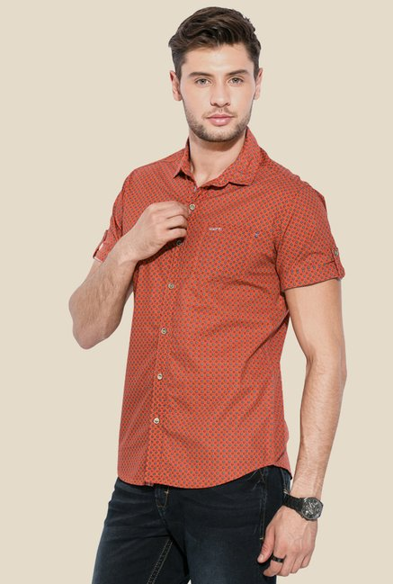 Mufti Orange Printed Shirt