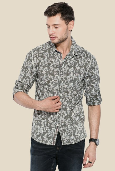 Mufti Olive Floral Print Shirt